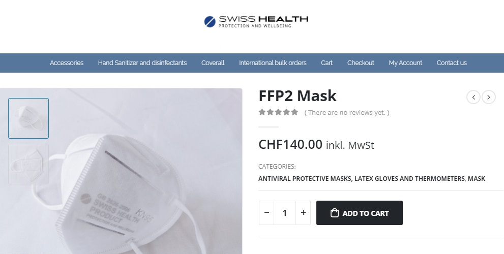 mascarillas 140 chf