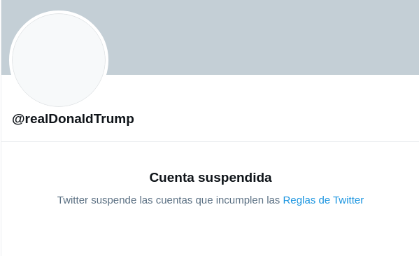 Trump cuenta suspendida